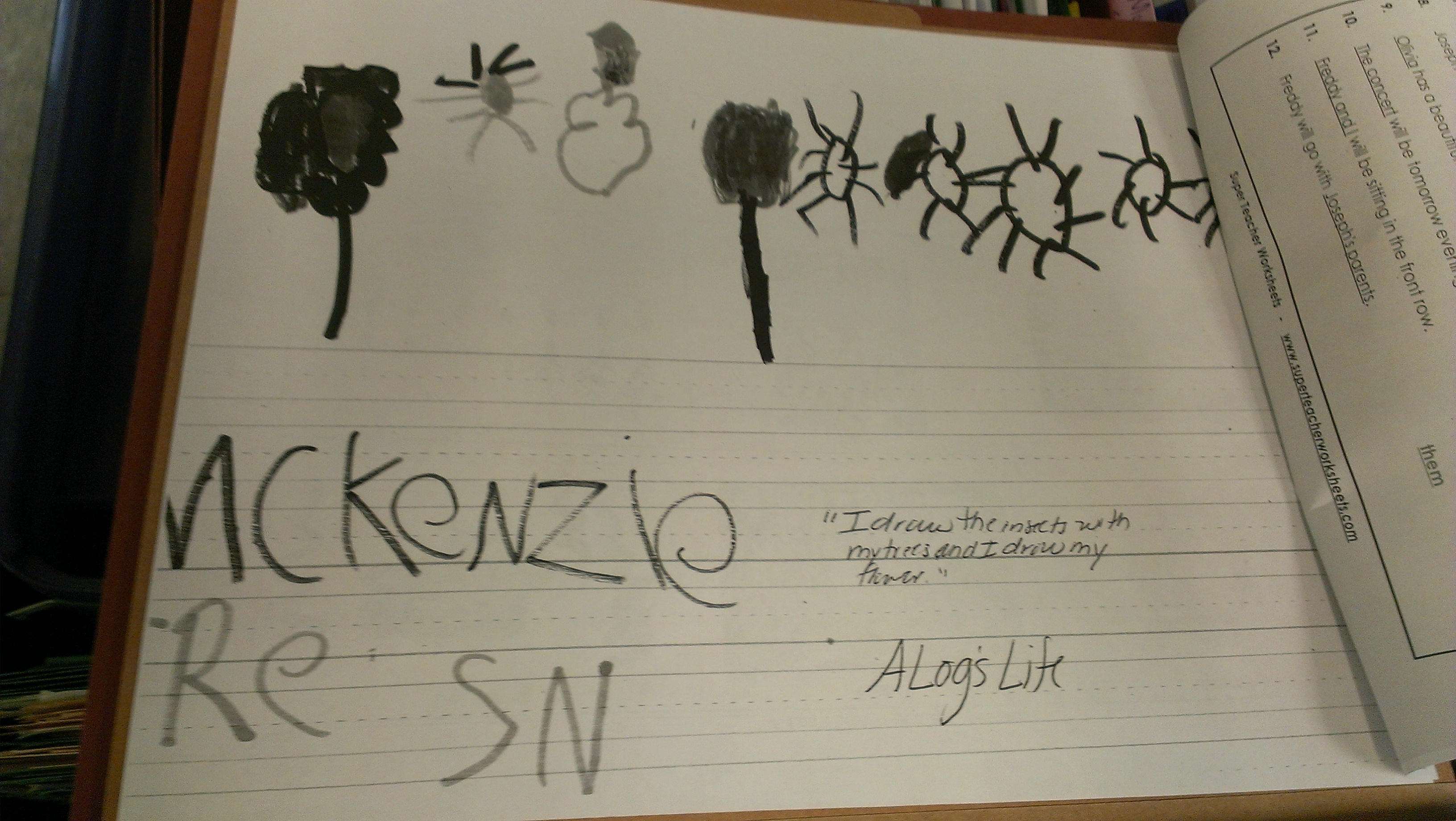 """This student wrote """"SN"""" for """"sun."""""""