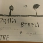 "This student wrote most of the letters in the word ""butterfly"" and ""tree."""