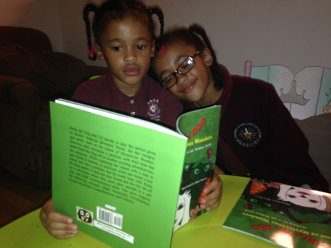Athena and Ariana love reading Karla! It's all family love.