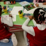 These 2 cheerleaders took some time out to complete worksheets and look at the Karla books!