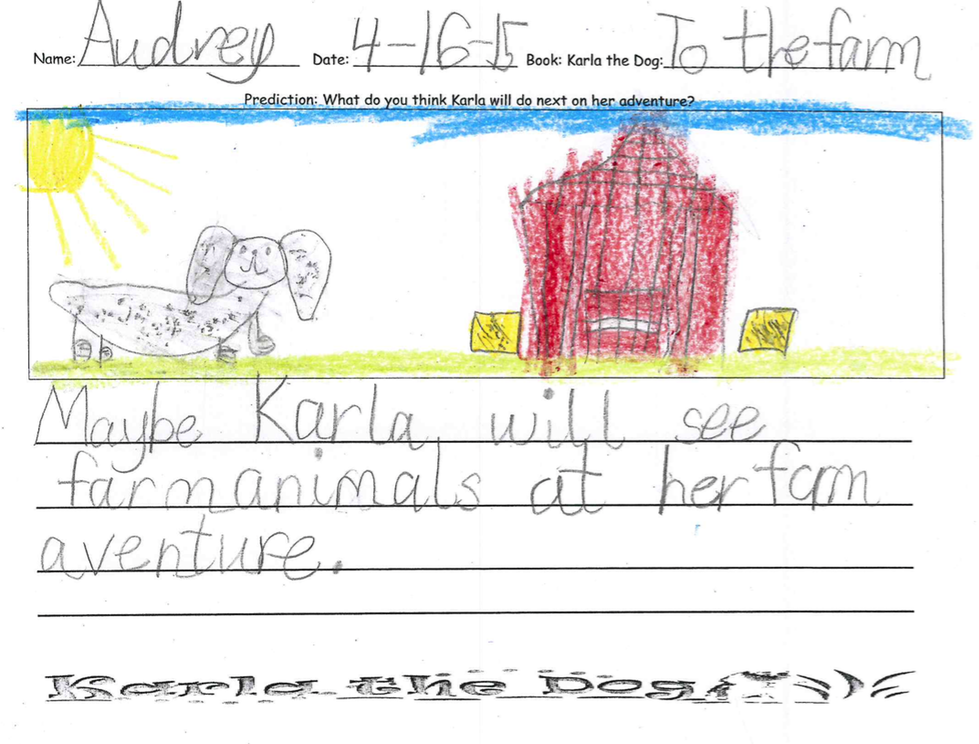 Audrey says Karla will see farm animals at her farm adventure.