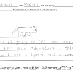 "Ishaan says Karla is going to see new animals on her next adventure.  ""I think she will see a leopard and a cat."""