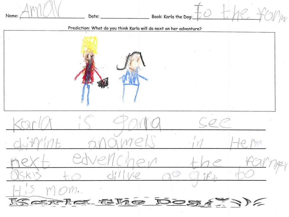 Arnar says Karla is going to see different animals on her next adventure. The farmer asks to give a gift to his mom.