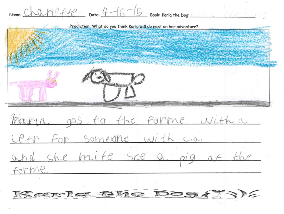 Charlotte says Karla goes to the farm with a letter for someone with CQ. She might see a pig at the farm.