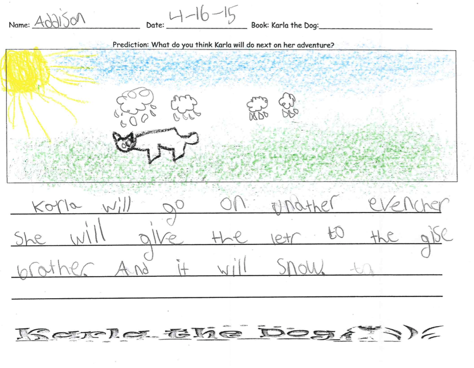 Addison says Karla will go on another adventure and will give the letter to the guys brother and that it will snow.